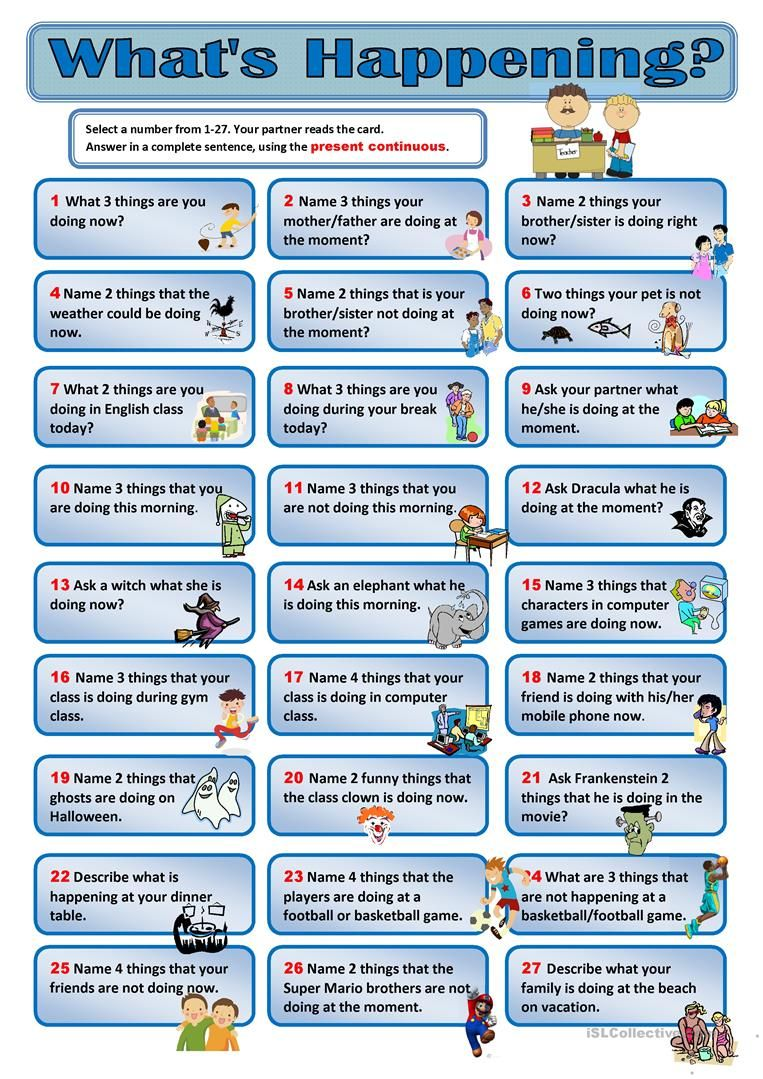 Present Continuous Conversation Cards worksheet - Free ESL printable ...