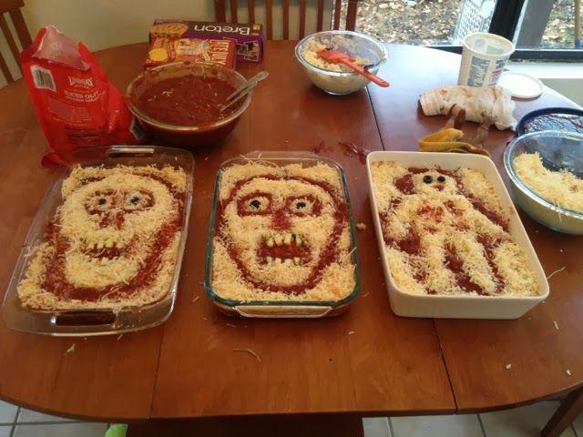 Halloween Lasagnas A Creepy Vegetarian Main Course Halloween Food Dinner Halloween Food For Party Halloween Food Appetizers