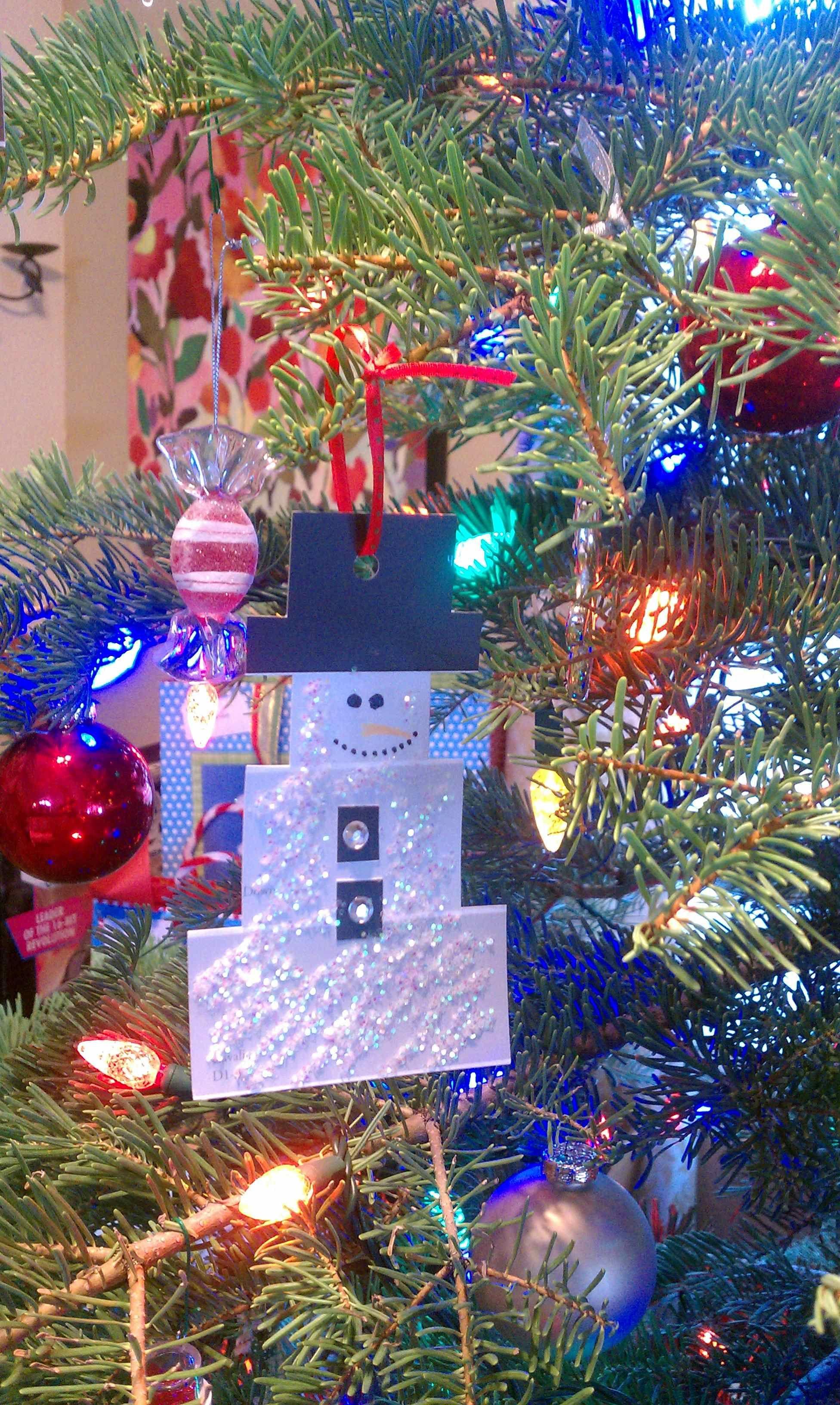 Christmas Snowman paint chip craft ornament Paint chip