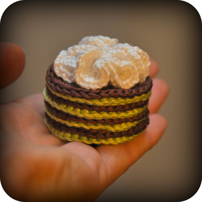 Crocheted Layered Pastry With Whipped Cream Free Crochet Pattern