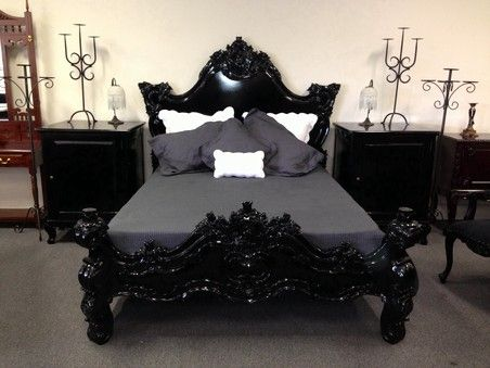 french black heavy carved mahogany antique style bed