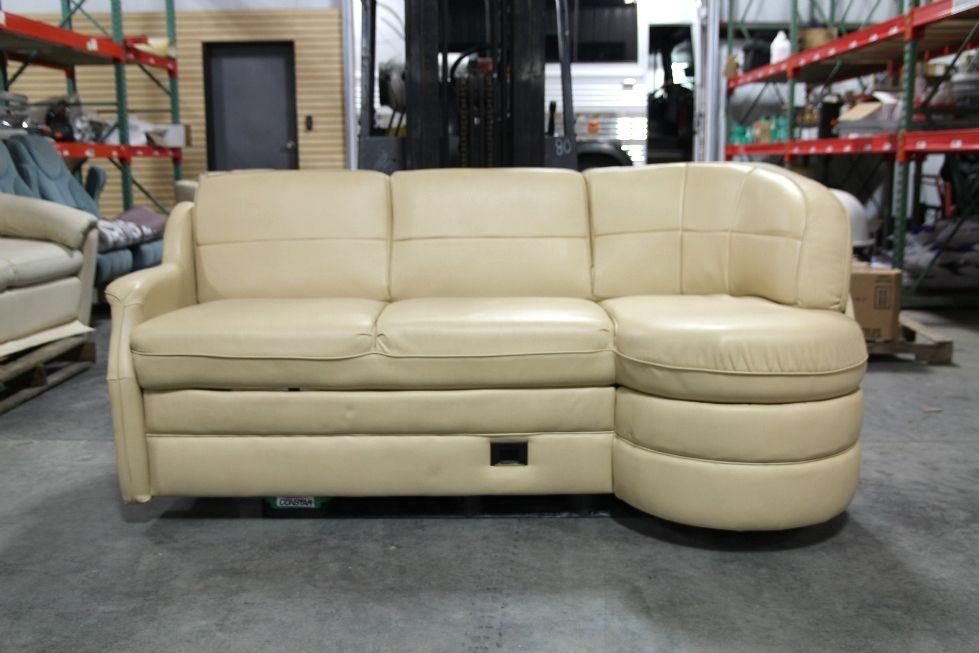 Leather Storage Sofa   USED RV/MOTORHOME FLEXSTEEL VANILLA LEATHER J LOUNGE  SOFA W