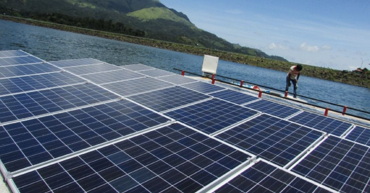 10kw Floating Solar Power Plant Installed In Banasura Sagar Made Of Ferro Cement Floaters With Hollow Insides A Total Of 18 Solar Solar Power Plant Floating