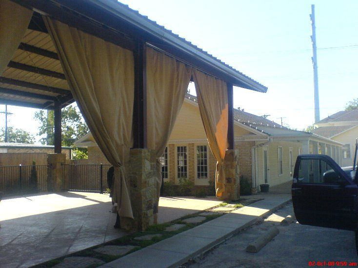 Patio Shade Curtains Made From Canvas Tarps ♥