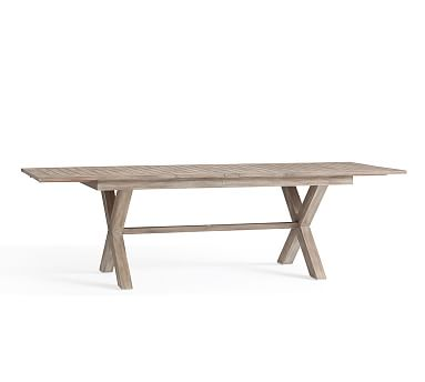 Indio X Base Rectangular Extending Dining Table Weathered Gray