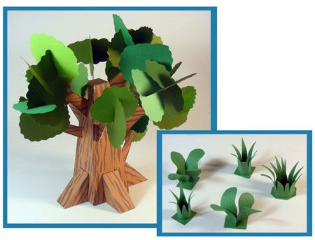 Dino Mini World Papercraft Trees And Grass Paper Tree Paper
