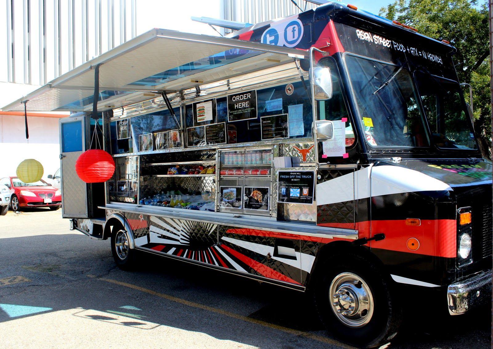 Street In Austin With Food Trucks