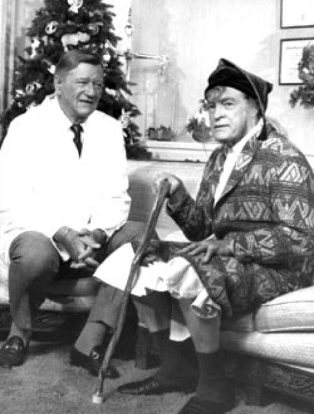 John Wayne and Bob Hope contemplate Santa\'s arrival. | Christmas ...