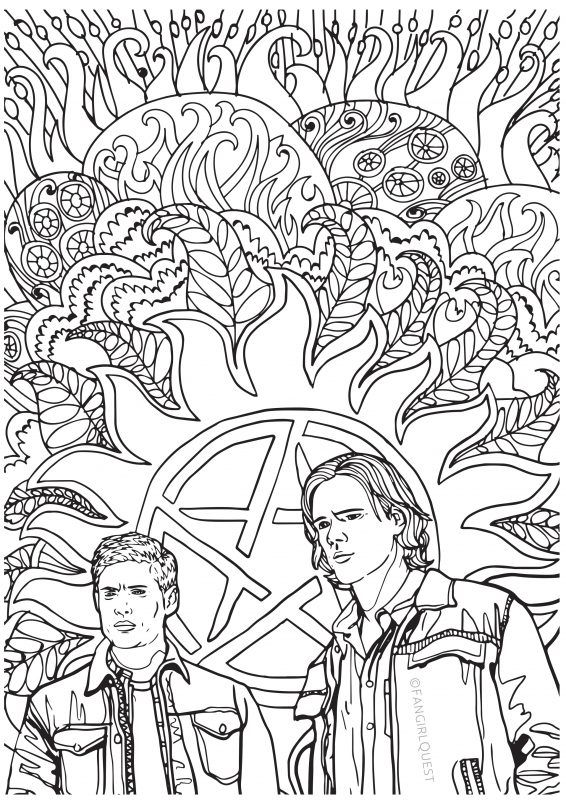 Supernatural coloring images: Sam and Dean Winchester | coloring ...