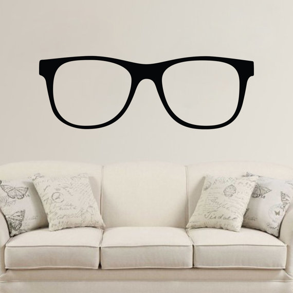 Hipster glasses wall vinyl decal sticker by lighthousedecals