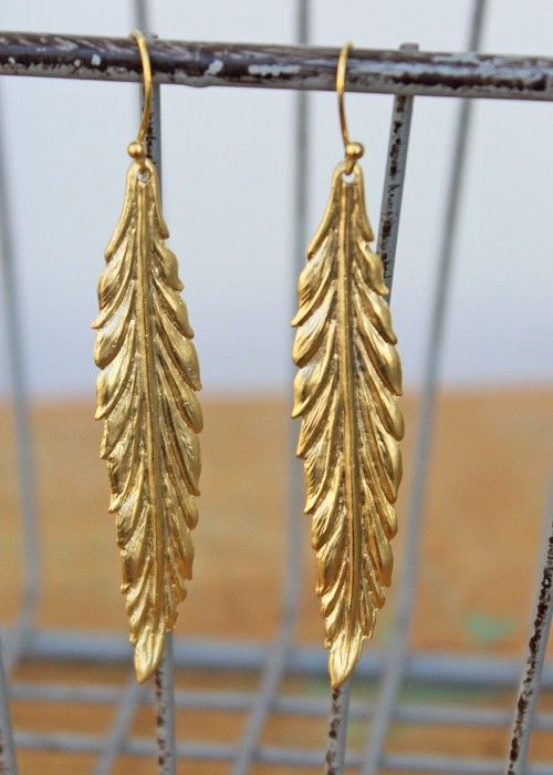 """Matte gold leaf danglers evoke Autumn and all things naturally beautiful. Measures 3"""" long including hook.  $26.00"""