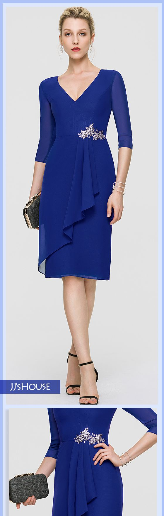 JJsHouse Sheath/Column V-neck Knee-Length Chiffon Cocktail Dress With Beading Sequins