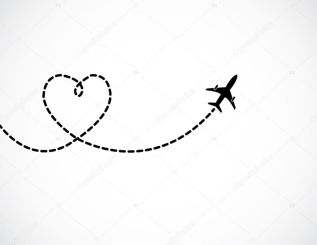 Wall Decor Airplane Tattoos Airplane Drawing Love Shape