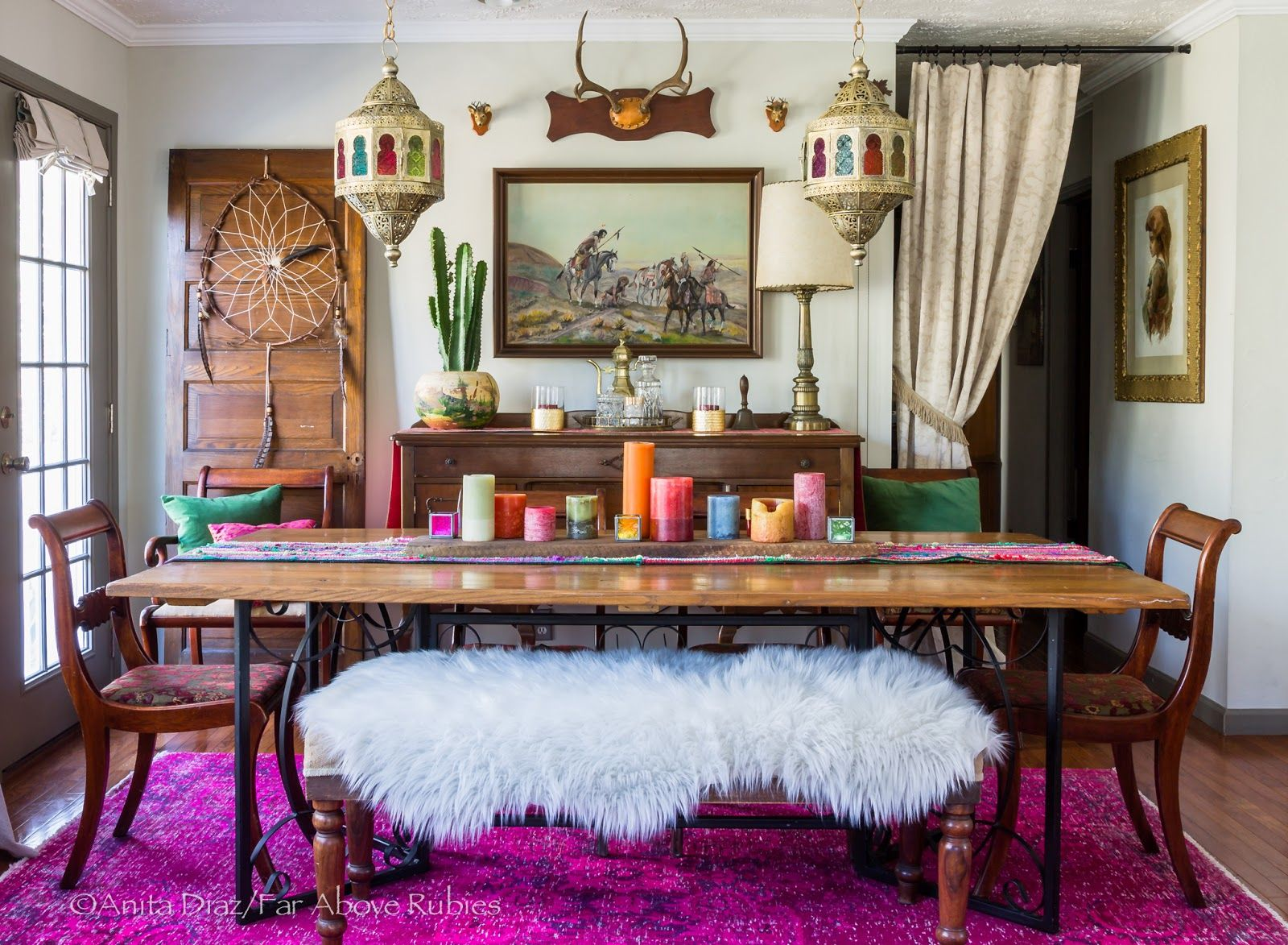 Far Above Rubies Boho Winter Dining And New Moroccan Lanterns Moroccan Dining Room Bohemian Dining Room Boho Dining Room