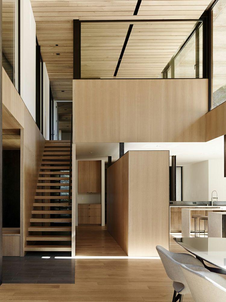 Holzvertäfelung holzvertäfelung treppen zwischengeschoss wohnbereich traumhäuser