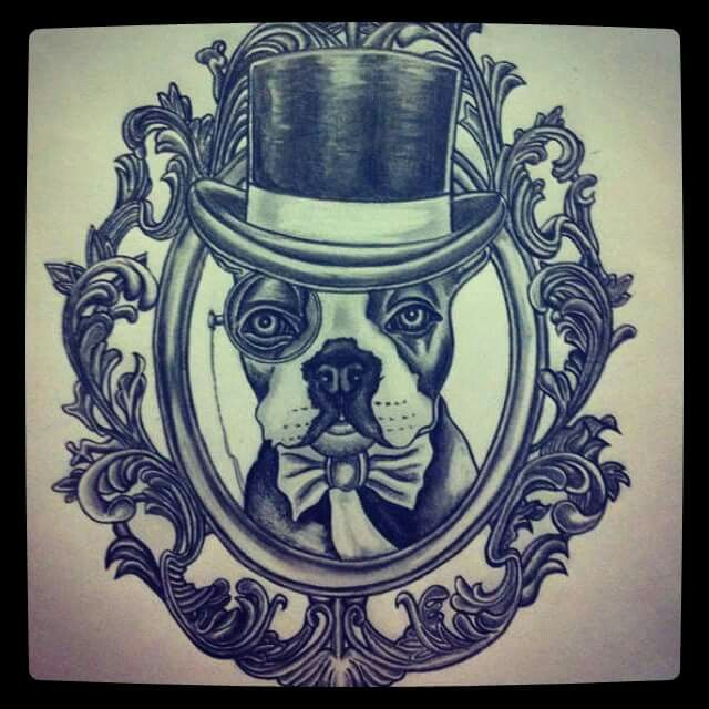 Dog In Top Hat Tattoo Design I Drew Animal Tattoos Dog Tattoo Inspirational Tattoos