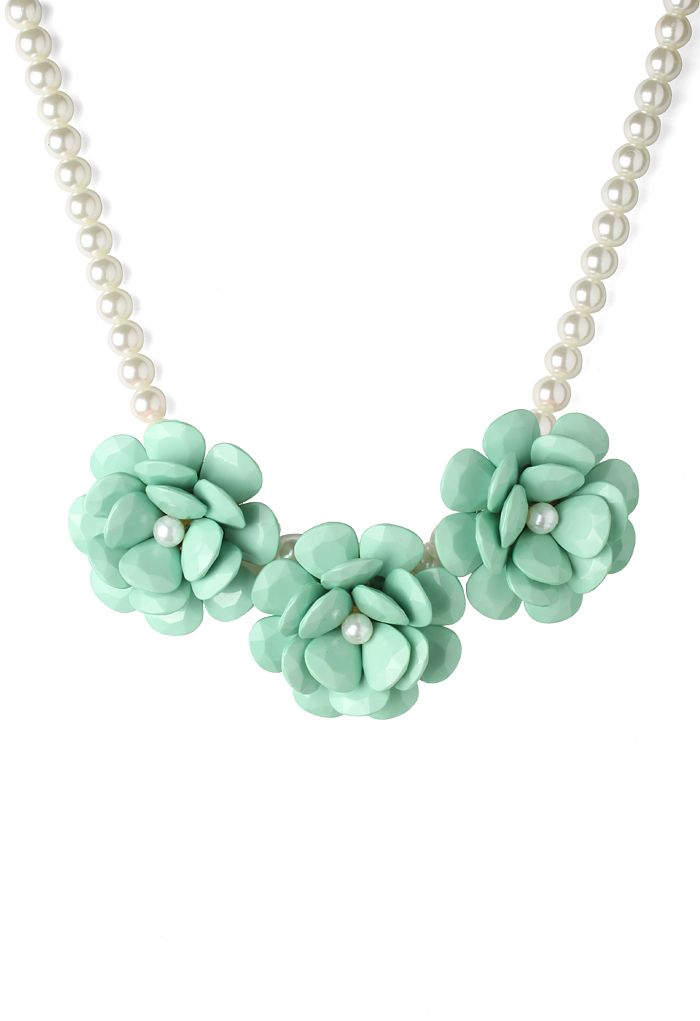 Mint Green Flower Pearl Necklace - Retro, Indie and Unique Fashion