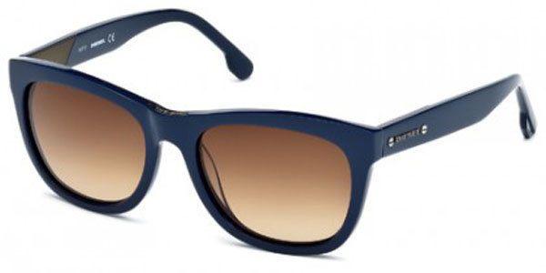 7c8dbc829be5 Diesel DL0055 92V Wayfarer Sunglasses Dark Blue Brown  Diesel   FullRimRectangle