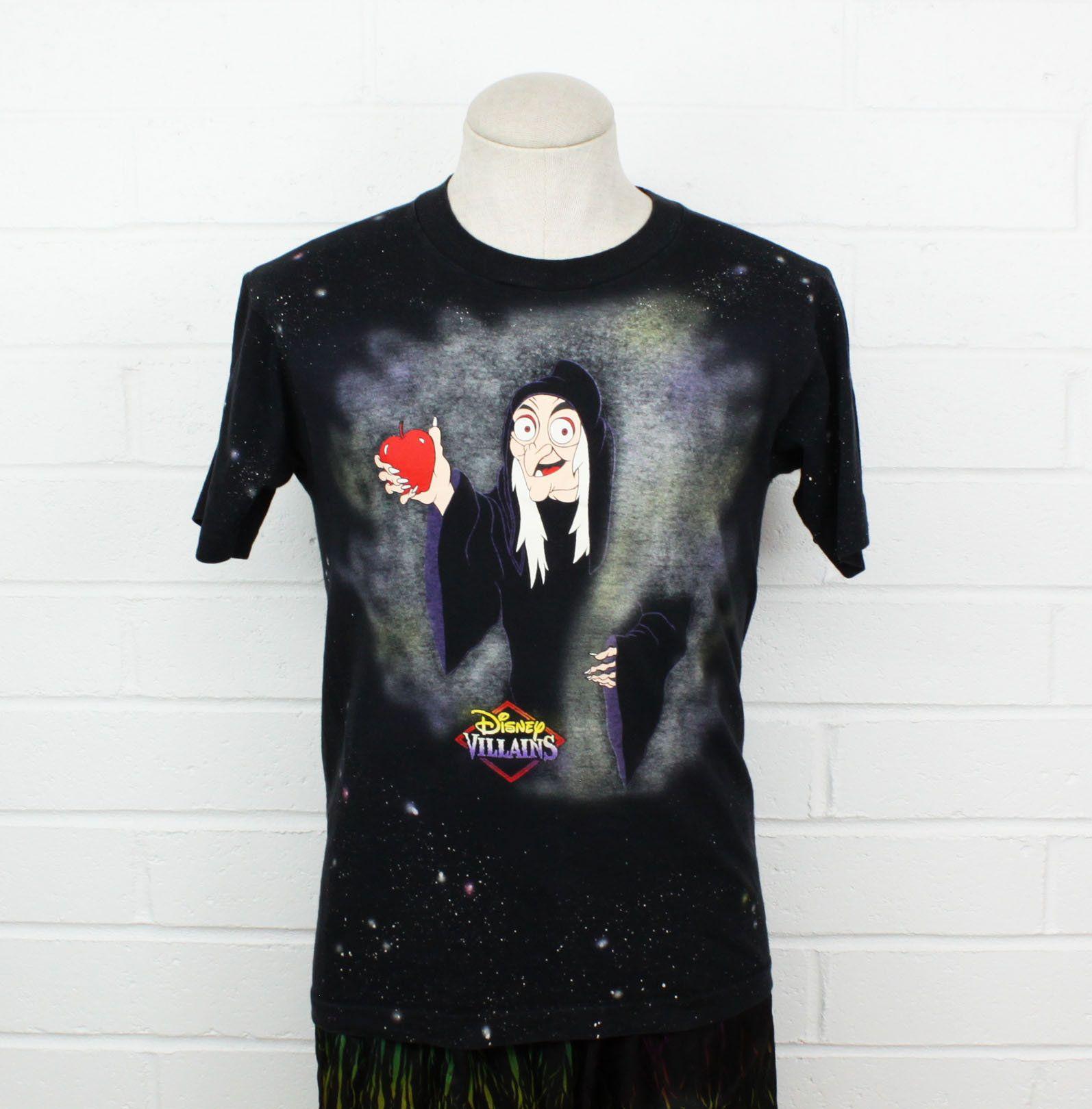 Vintage 90s Disney Villains Medium Shirt Maleficent Old Lady Black Graphic Tees Disney Shirts For Men Boys Summer Outfits