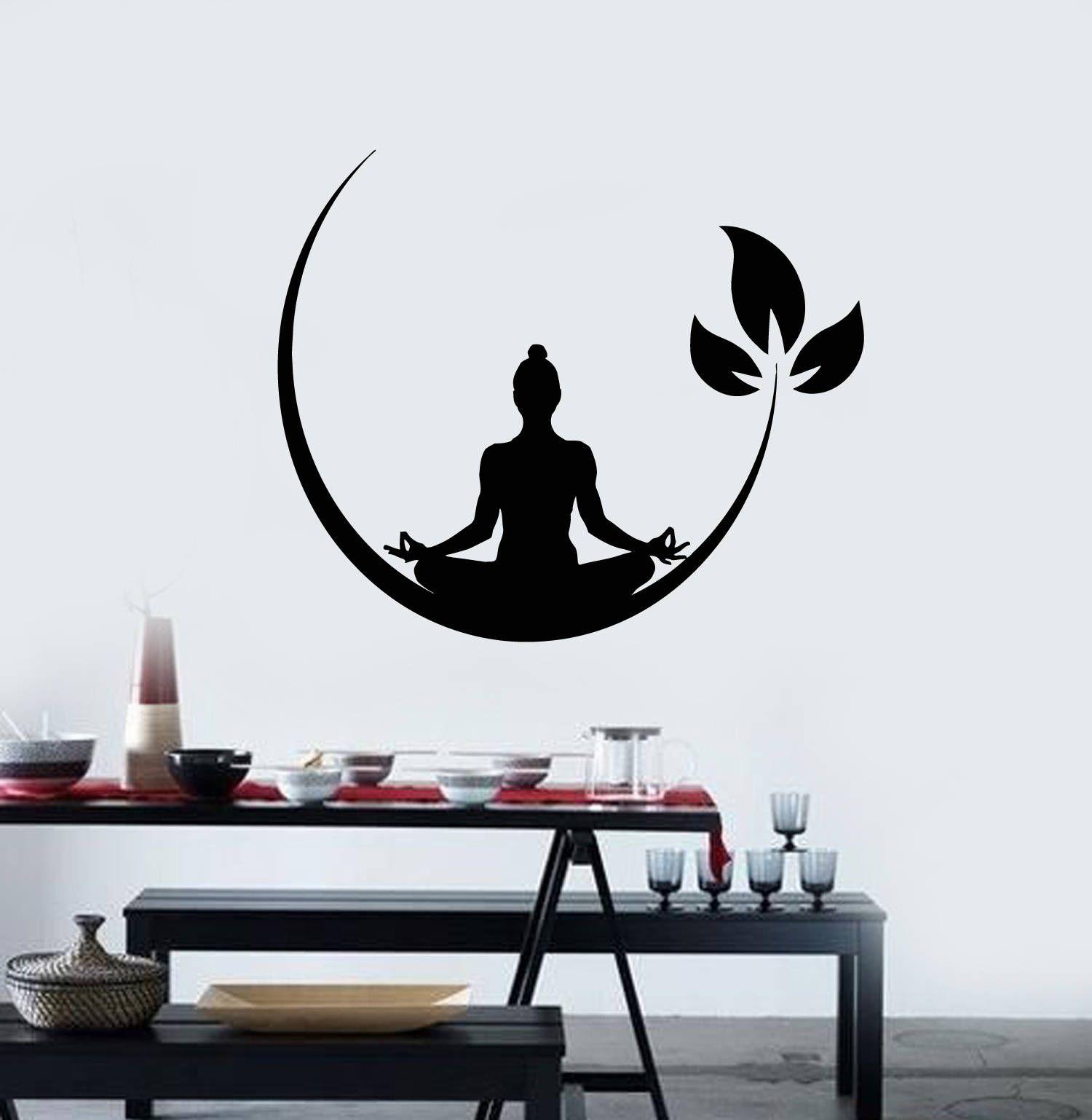 Vinyl Wall Decal Meditation Pose Buddhism Yoga Studio Stickers Etsy Simple Wall Paintings Buddha Wall Art Vinyl Wall Decals