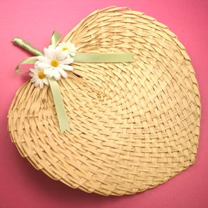 Straw Fan With Flowers And Ribbon