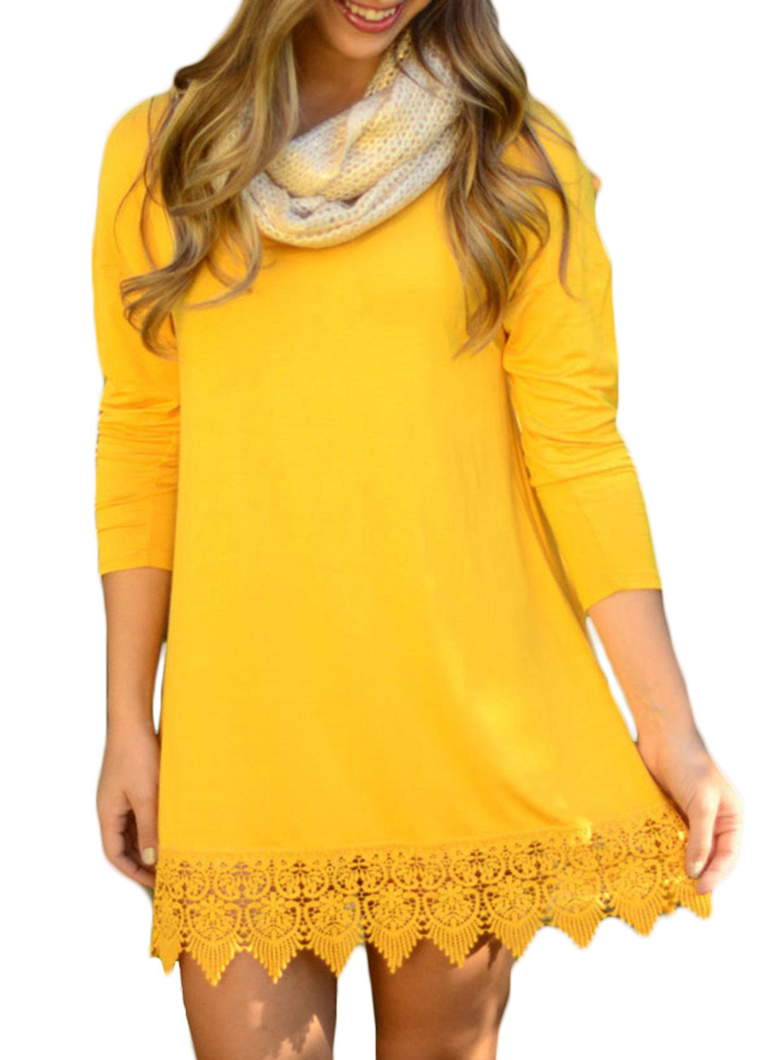 The dress made from a stretch knit with long sleeve crochet lace