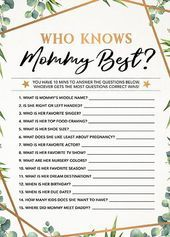 Who Knows Mommy Best Baby Shower Game Printable Baby Shower Instant Download Gender Neutra Who Knows Mommy Best Baby Shower Game Printable Baby Shower Instant Download Ge...