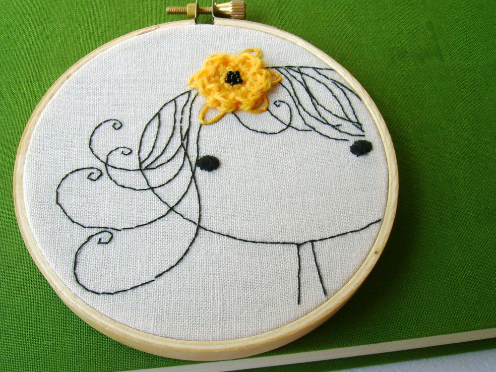 Embellished  Hand Embroidered Girl Yellow Flower Finished Hoop Art...maybe with a felt flower instead