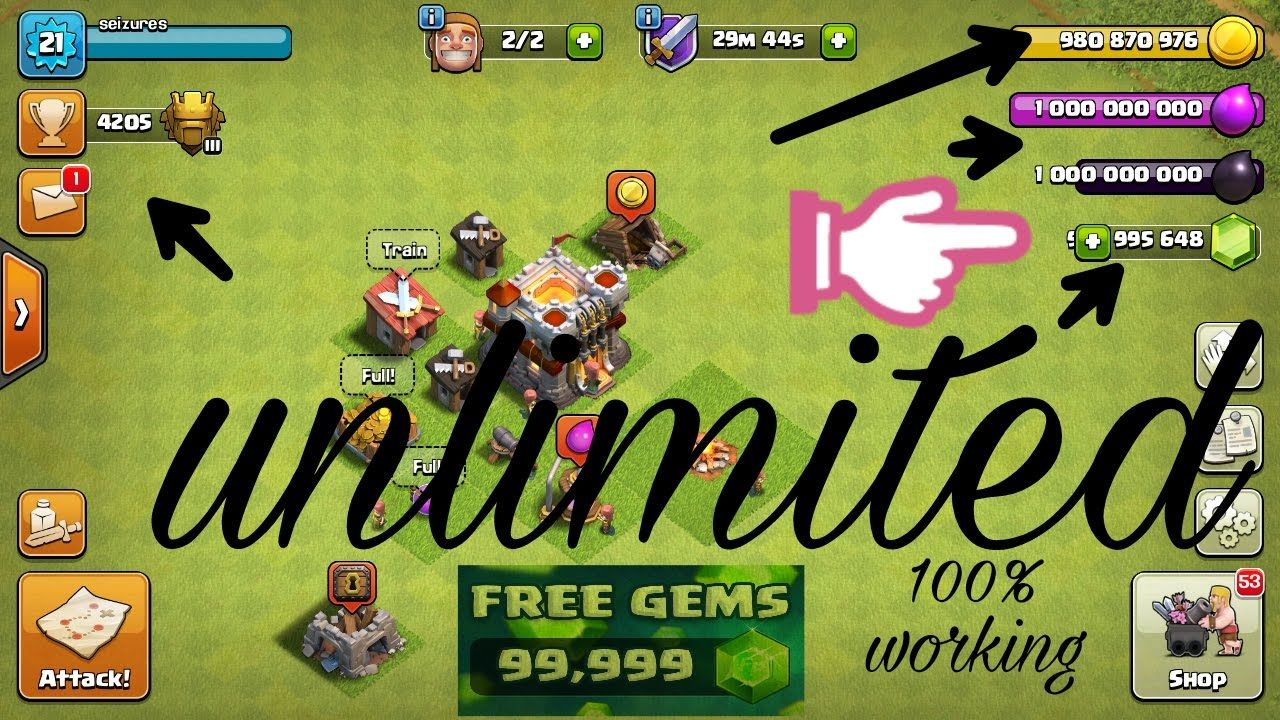 Get Free Unlimited Coins Gems Elixir And Dark Elixir Check The