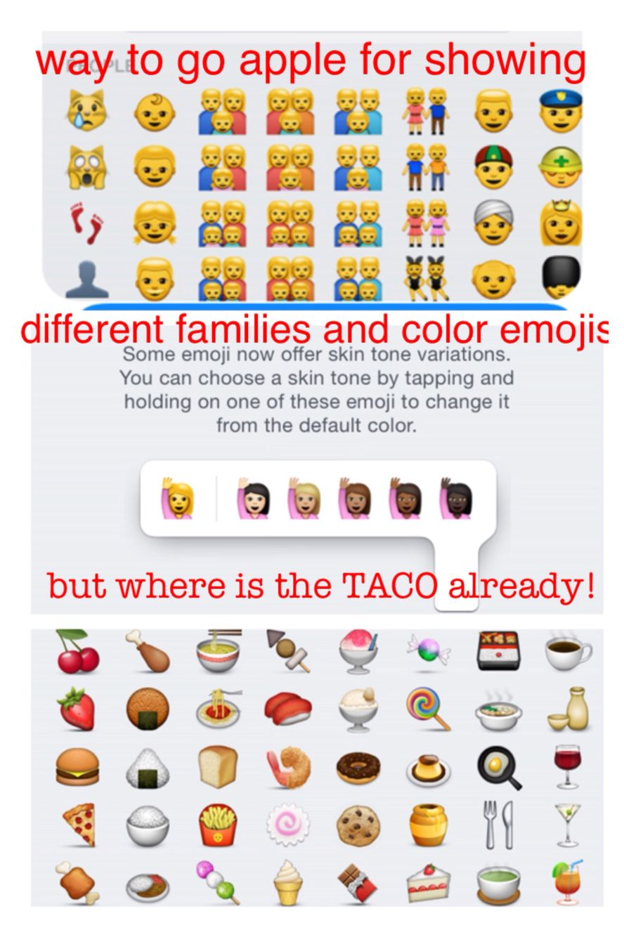 With All The Technically Advances Apple Has Made There Still Isn T A Taco Emoji Get It Together Apple Emoji Apple How To Get