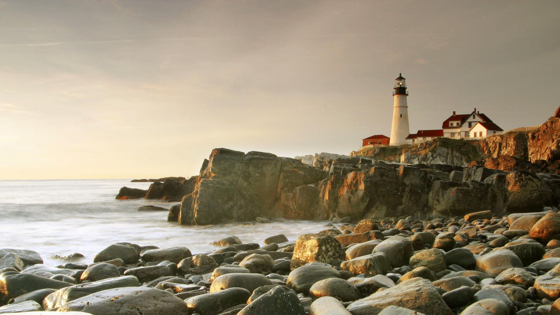 Lighthouse On Rough Rocky Shore in Portl Maine Wallpapers Hd Free .