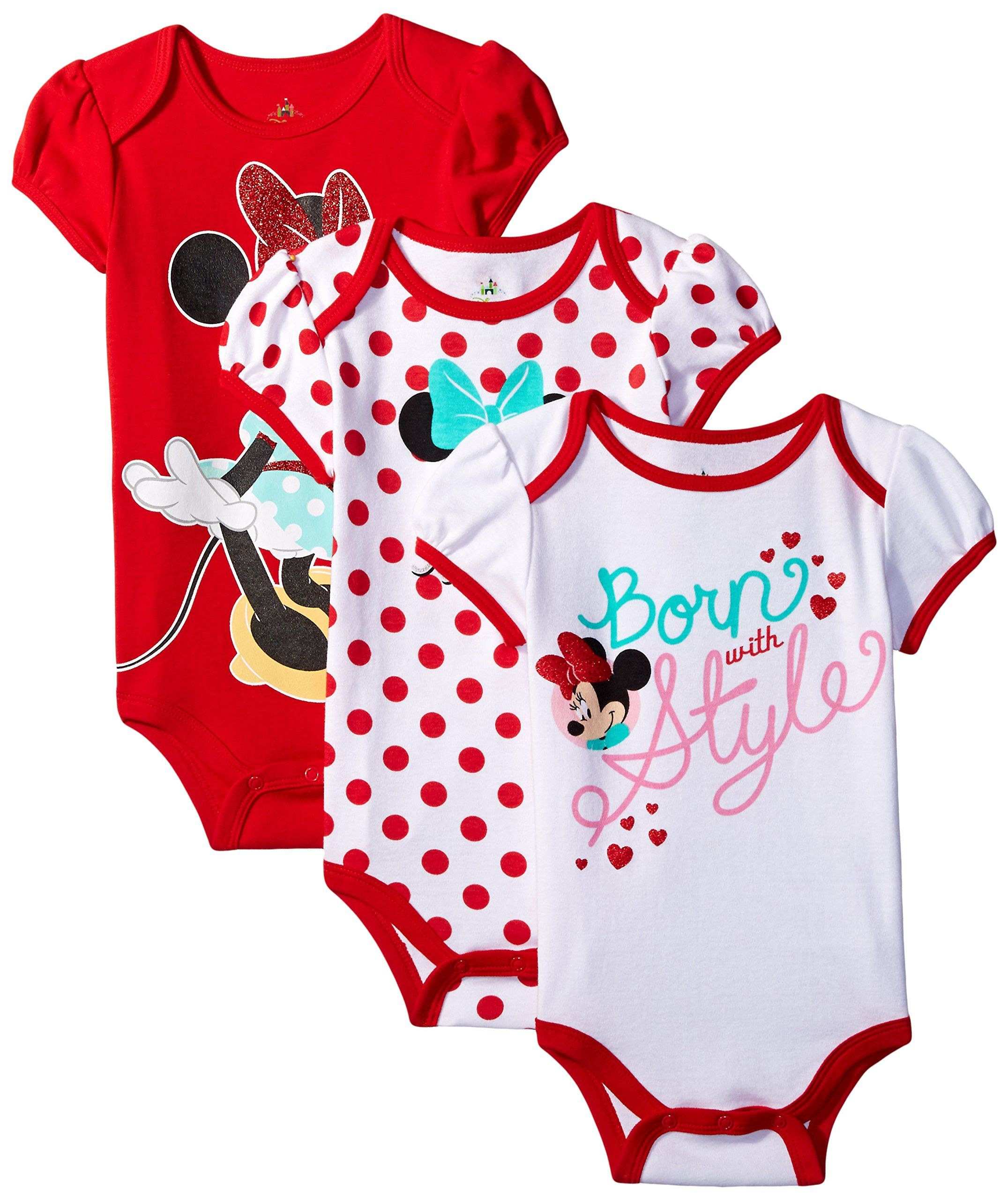 Disney Baby Girls Minnie Mouse Bodysuit White 0 3 Months Pack of