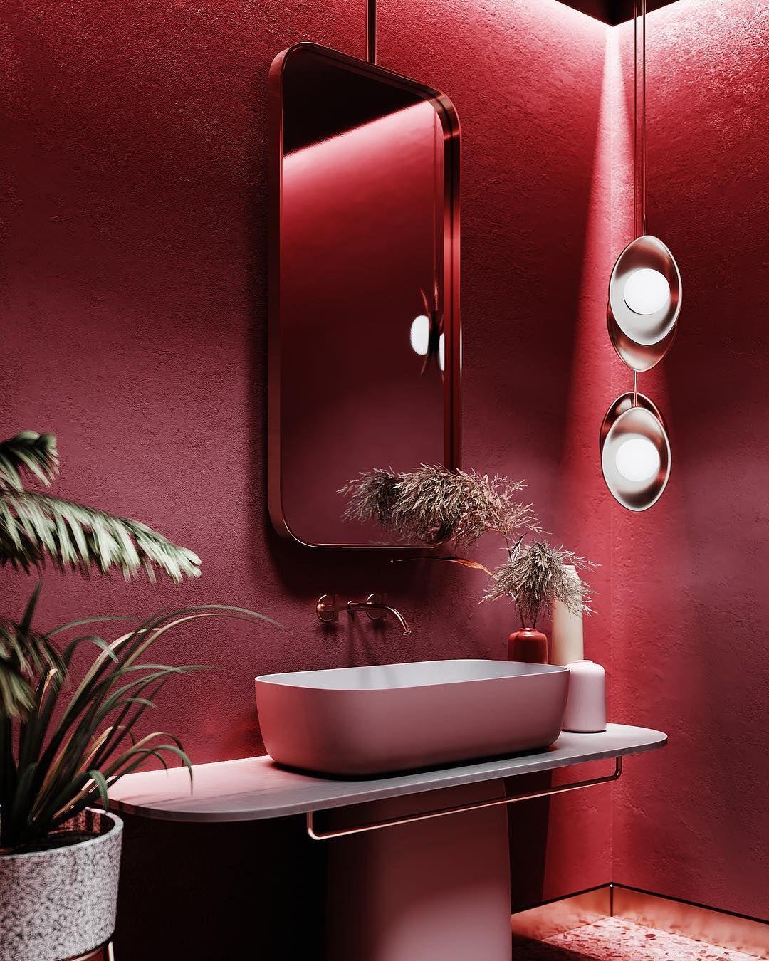 Colour Inspiration From Kie Bathroom Red Bathroom Decor Interior Red bathroom design ideas