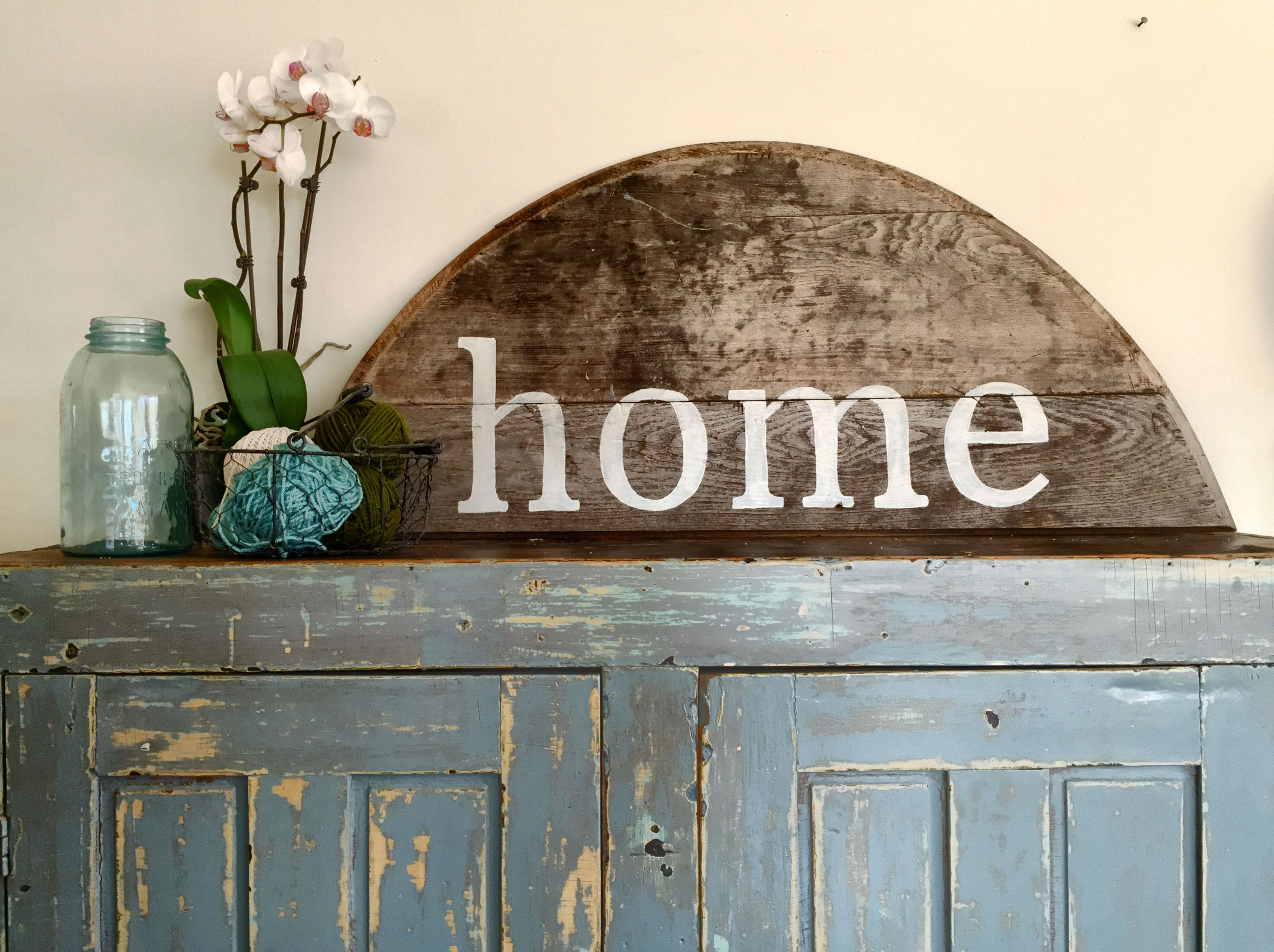 Home sign - reclaimed old table - farmhouse home sign