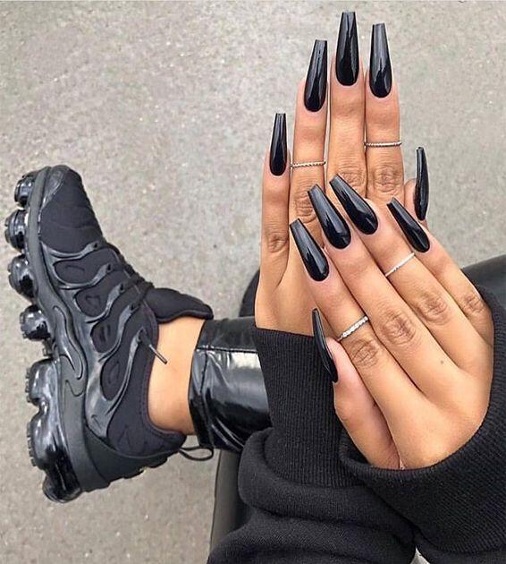 Kimberlyceo For More Goodies Black Coffin Nails Long Acrylic Nails Dark Nails
