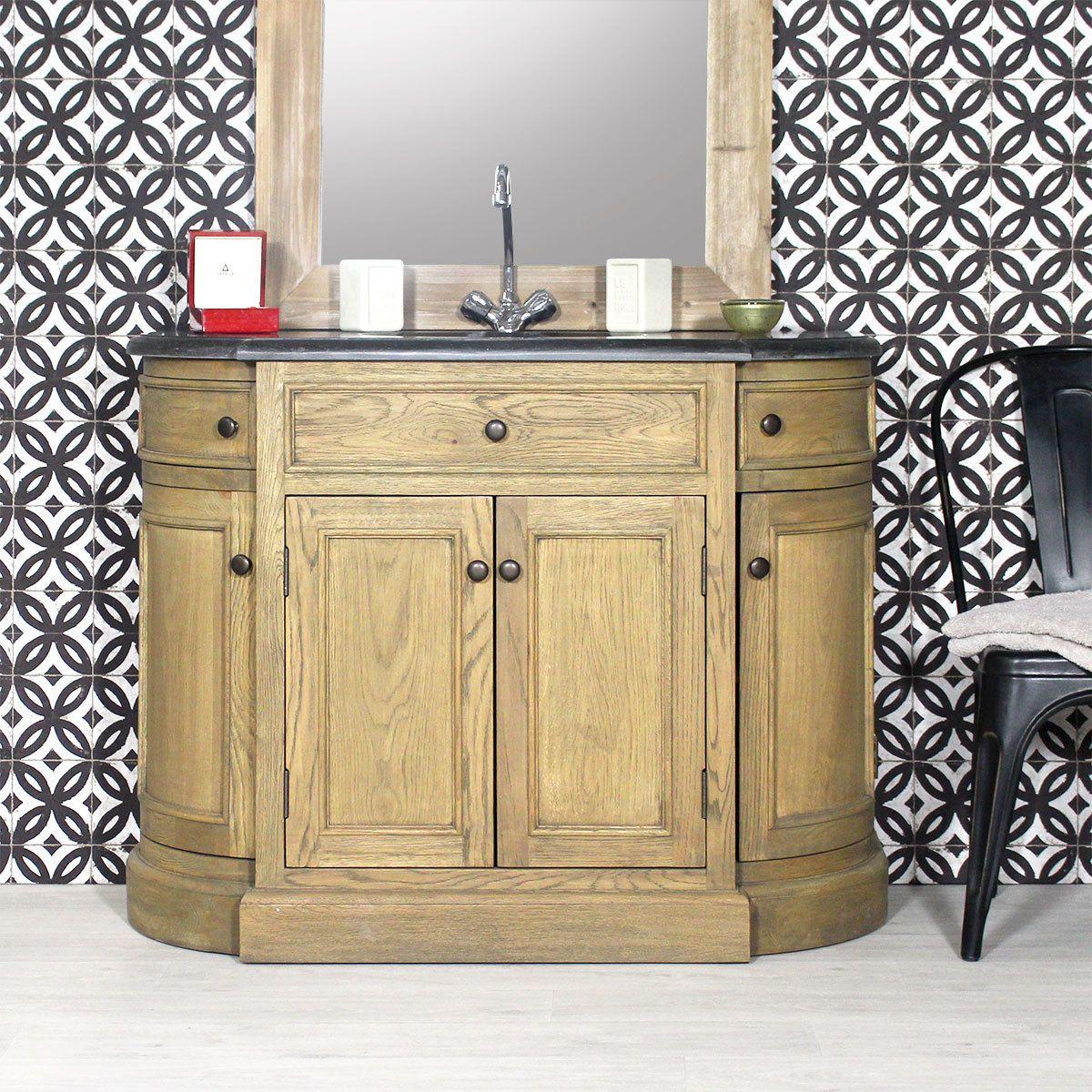meuble salle de bain bois massif 1 vasque 4 portes 2 tiroirs chne massif naturel plateau en pierre bleue existe en plusieurs variantes