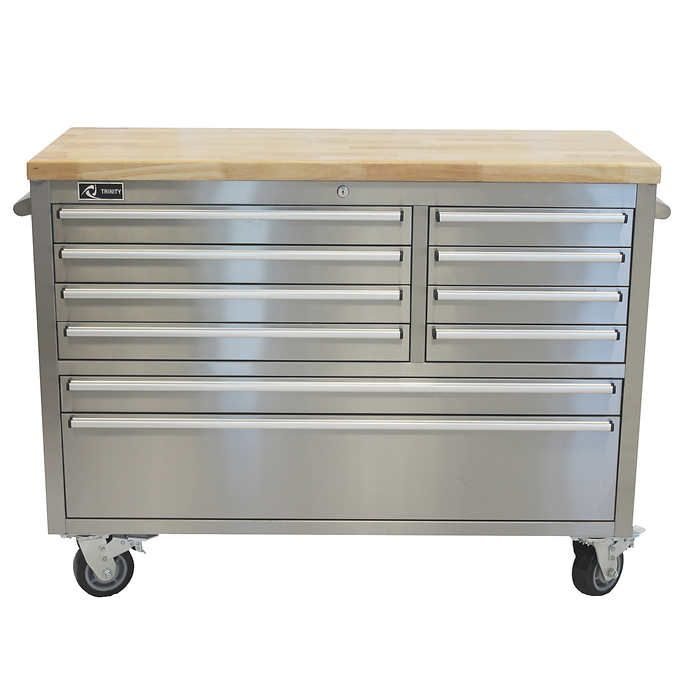 Trinity 48 Quot Stainless Steel Rolling Workbench Steel Workbench Rolling Workbench Stainless Steel Tools