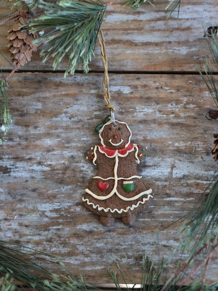 Gingerbread Boy Clay Cookie Xmas Tree Ornament Snowflake Candy Decor Scarf Hat