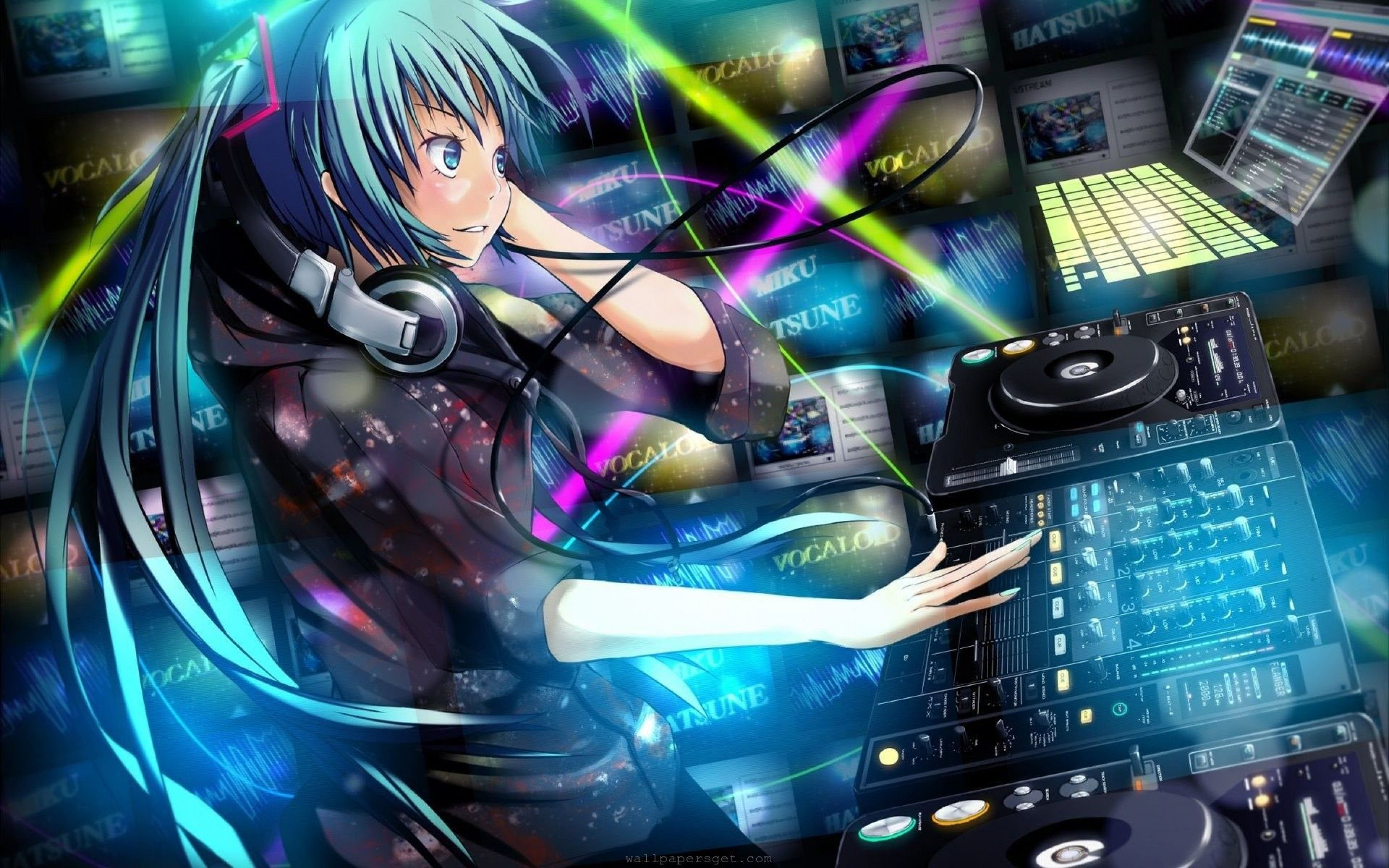 Anime Dj Girl With Headphones Wallpaper Hd With Images Anime