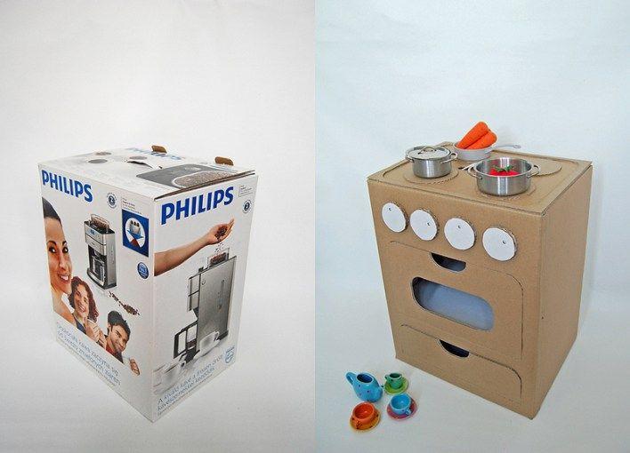 20 Nuevas Ideas Para Hacer Cocinas De Carton Para Ninos Y Ninas Cocina De Carton Cocina De Juguete Diy Caja De Carton