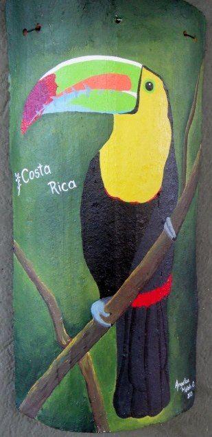 Teja de barro pintada a mano en acr lico tejas de barro pintar tejas de barro y tejidos - Pintar tejas de barro ...