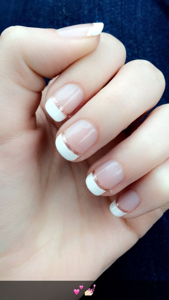 Wedding nail idea - French manicure with rose gold on   Manicure ...