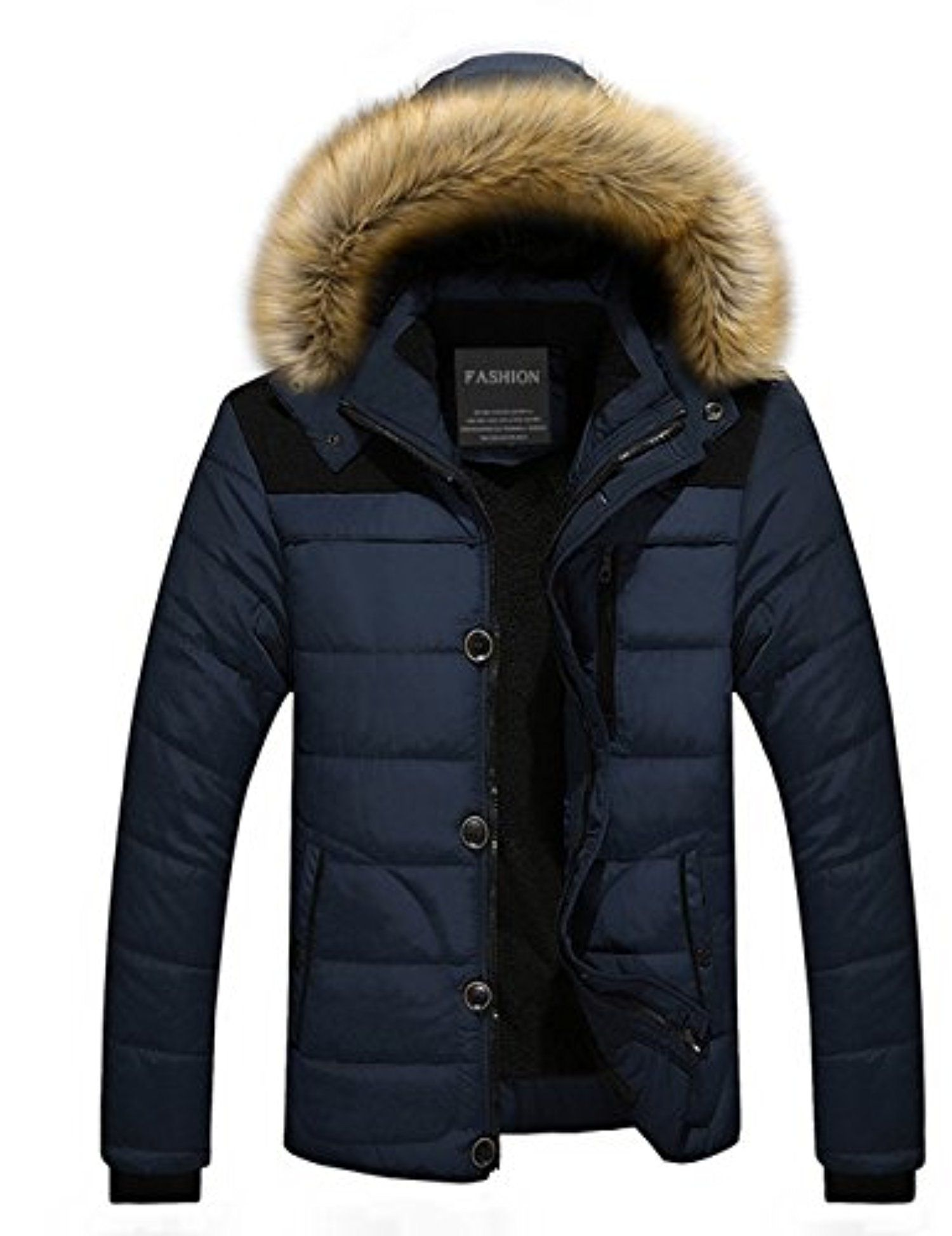 65947ad916a Menschwear Men s Faux Fur Hooded Down Jacket Parka Coat Flannel Lined  6692(XL