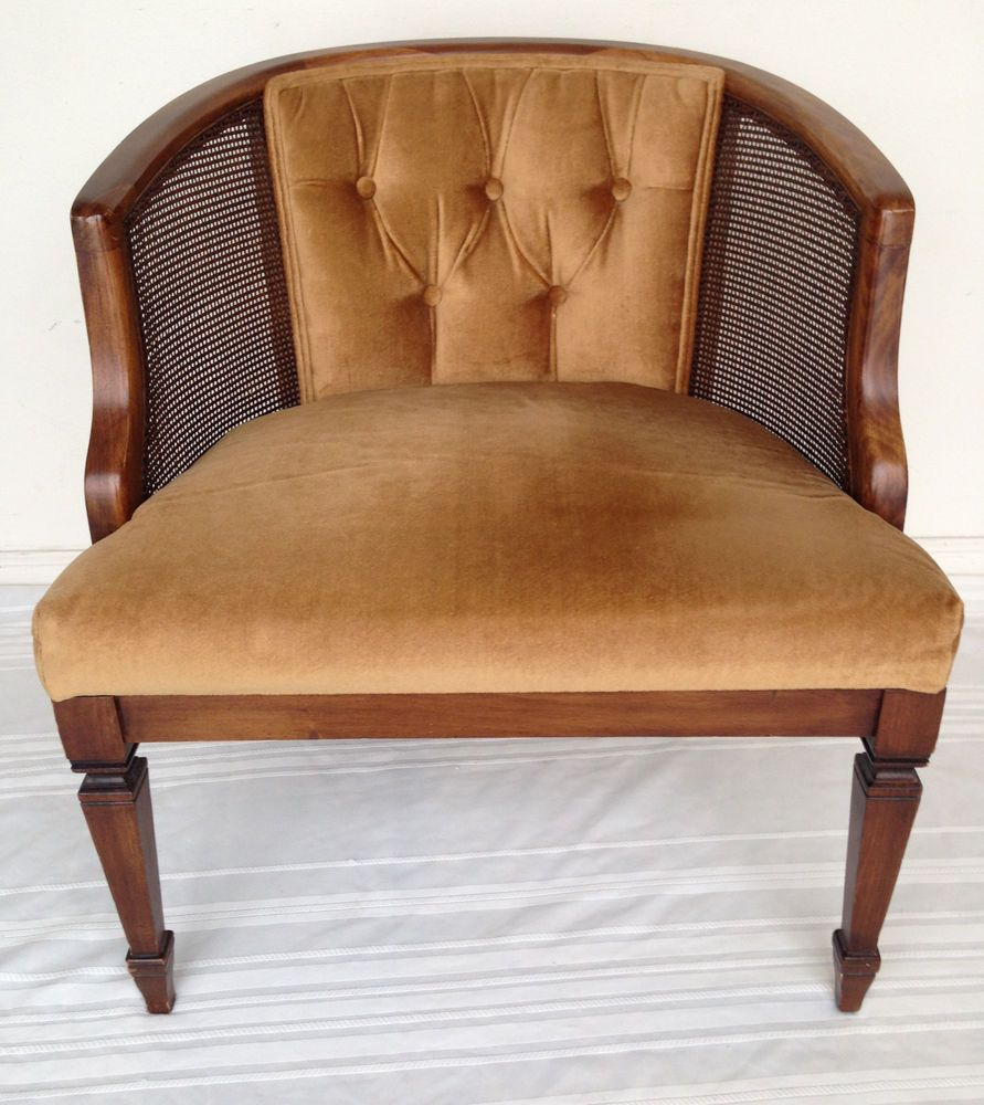 Vintage mid century broyhill french cane wood chair yellow tufted velvet club midcenturymodern broyhill