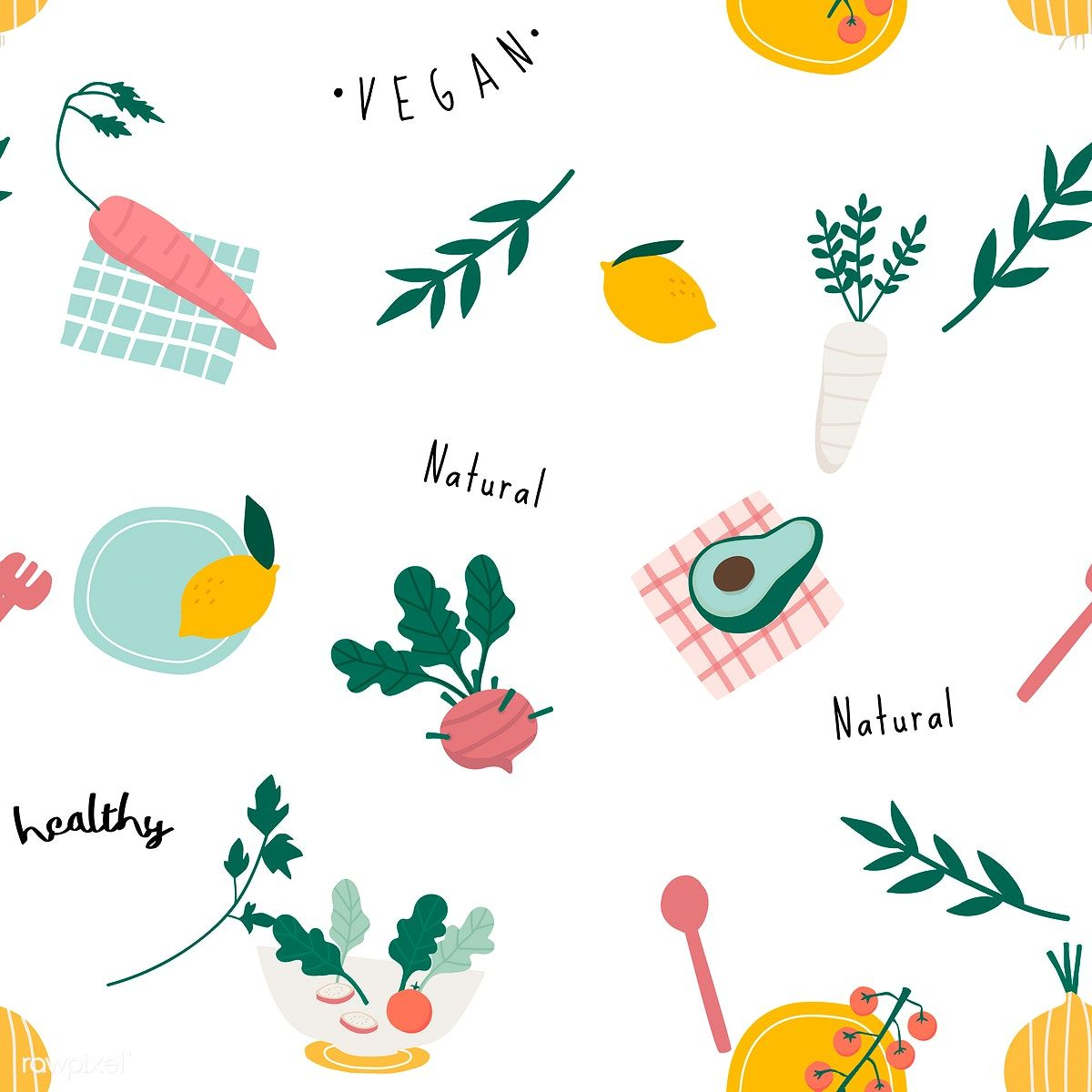 Healthy Vegan Seamless Wallpaper Vector Free Image By Rawpixel Com Filmful In 2020 Vector Free Food Backgrounds Healthy Snacks For Kids