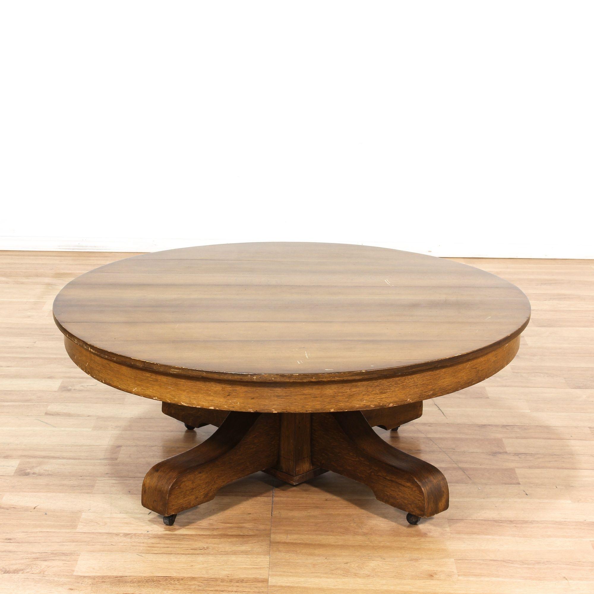 Mission Style Round Oak Pedestal Coffee Table Loveseat Vintage Furniture Los Angeles Table Coffee Table Pedestal Coffee Table
