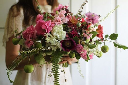 Be inspired by bridal bouquets brimming with delicate ferns ~ bold and colourful