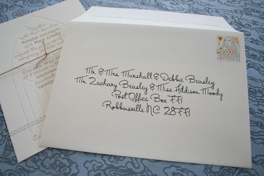 Addresses On Wedding Invitations: Calligraphy Addressing Wedding Invitations With A Liner