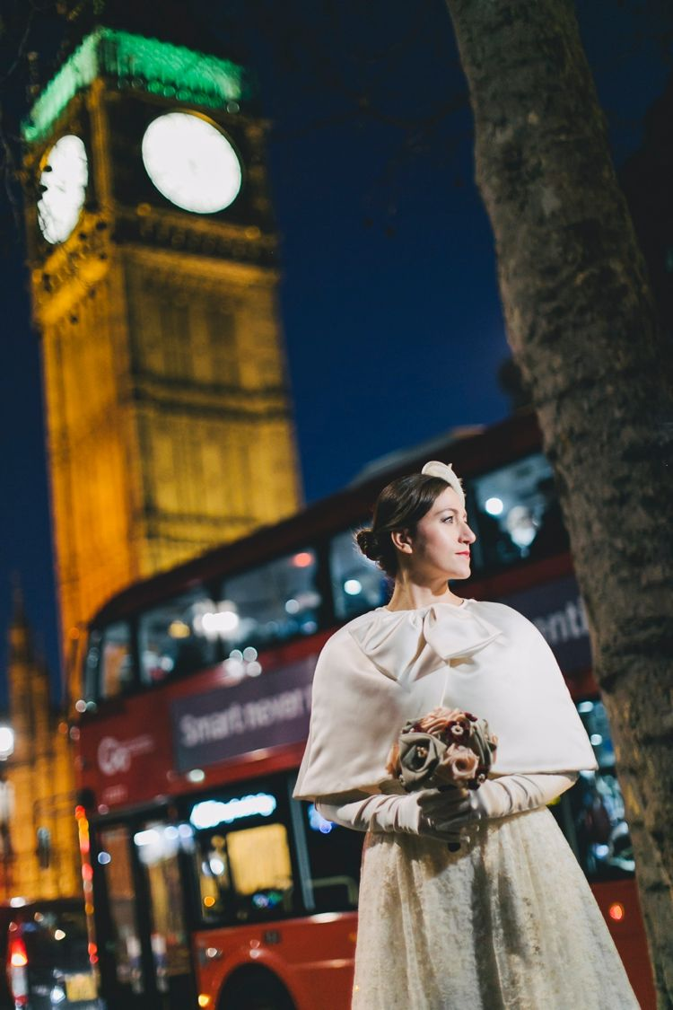 Retro London Elopement | http://flyawaybride.com/retro-london-elopement/ Photography: Sara D'Ambra Photography | Bride's Dress:  Marianna Lanzilli | Design bouquet: V as Love.  #gown #weddingdress #fabricbouquet #bow #birdcage #London #UK #BigBen