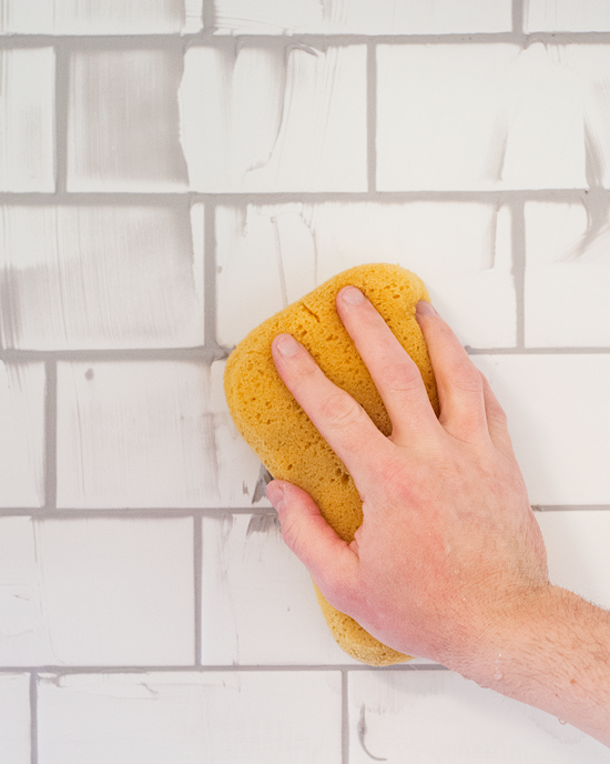 Checking Off the Backsplash! Whitewash brick backsplash